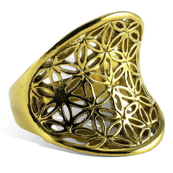 <span>RBR-013<span>: </span></span>Flower of Life Rising Ring - Brass