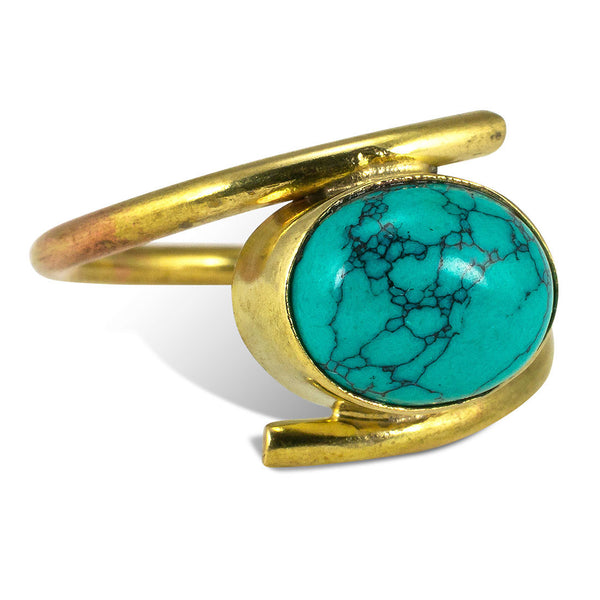 <span>RBR-019<span>: </span></span>Wrapped Turquoise Ring - Brass