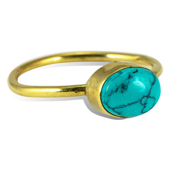 <span>RBR-023<span>: </span></span>Simple Turquoise Ring - Brass