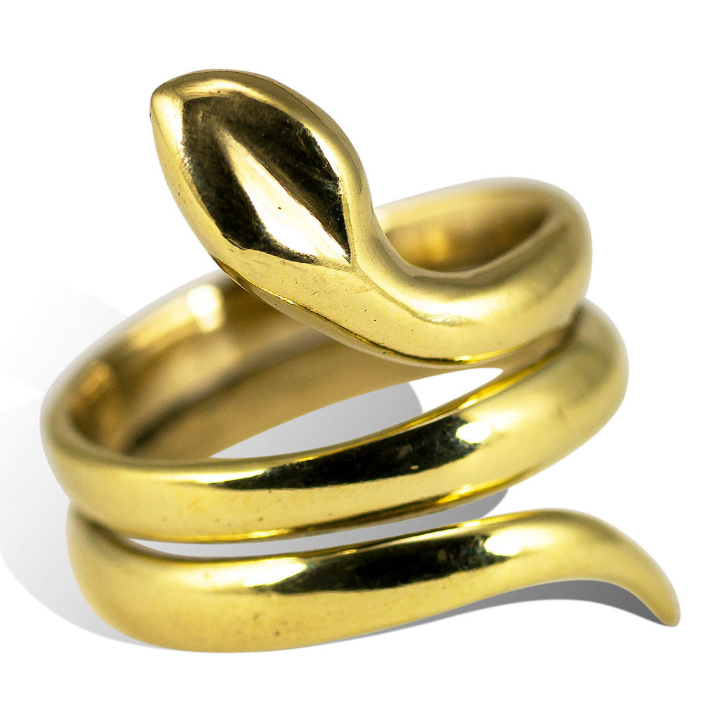 <span>RBR-034<span>: </span></span>Sweet Snake Ring - Brass