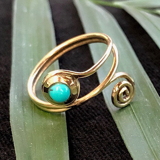 <span>RBR-065<span>: </span></span>Adjustable Turquoise Ring - Brass