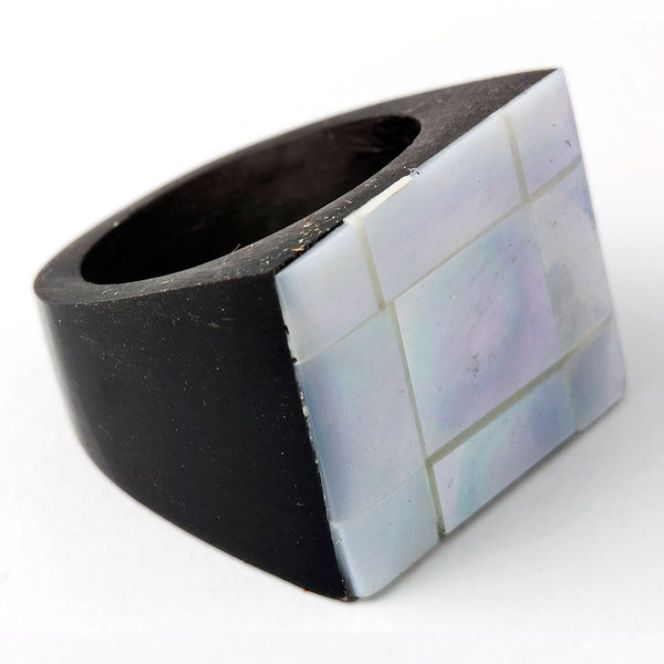Pearl Resin Ring - Squared
