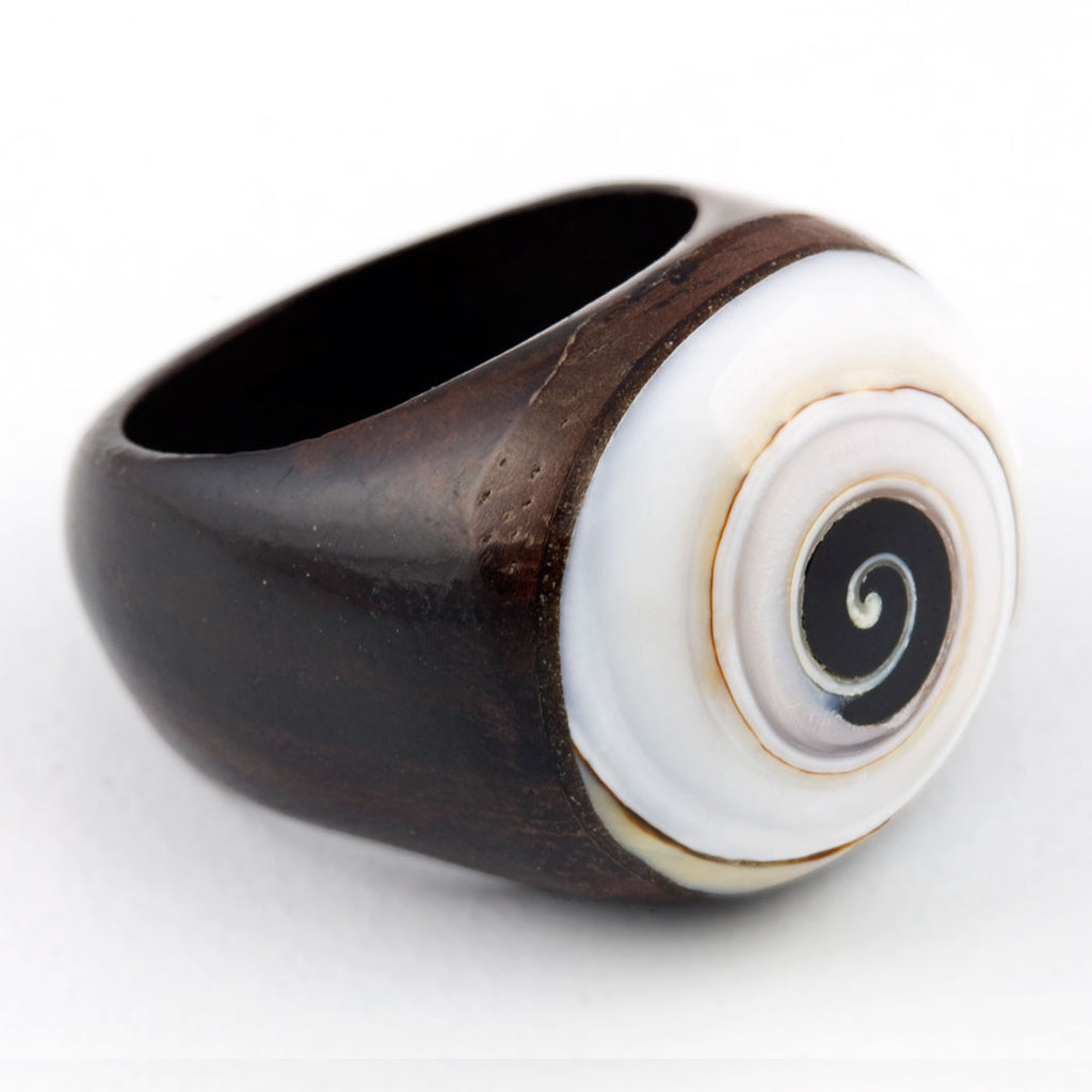 Wooden Ring - Spiral Shell