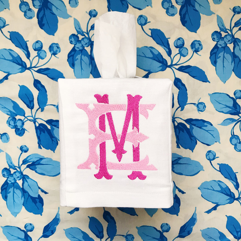 Monogrammed Linen Tissue Box Cover