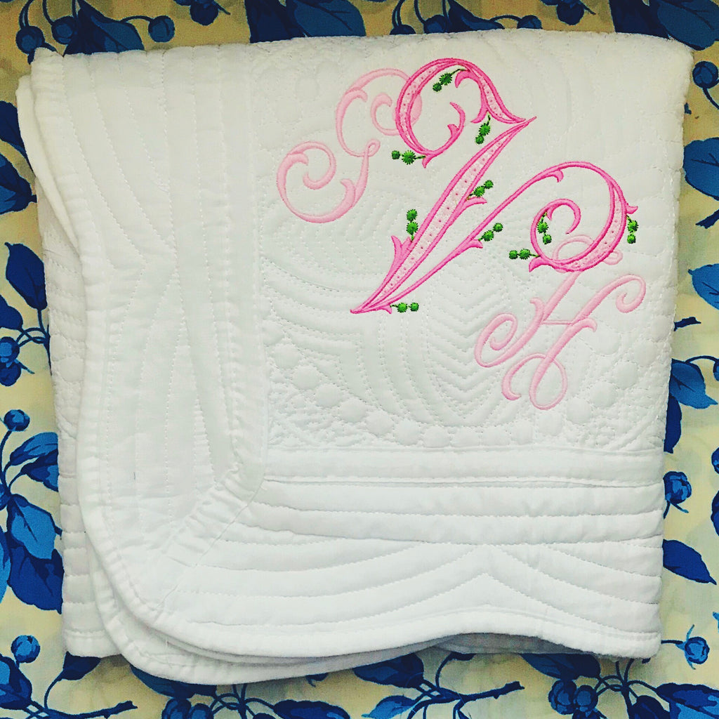Monogrammed Heirloom Baby Blanket