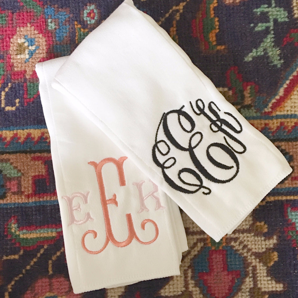 Set of 2 Monogrammed Burp Cloths