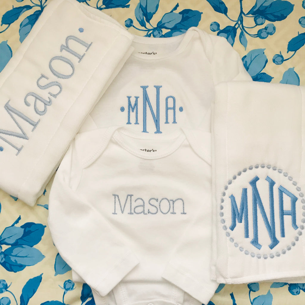 "Monogrammed Baby Bundle - BOY or GIRL ""Basic"" Style"