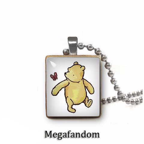 Classic Winnie the Pooh Scrabble Pendant with silver plated ball chain Winnie Pooh Jewelry - Megafandom