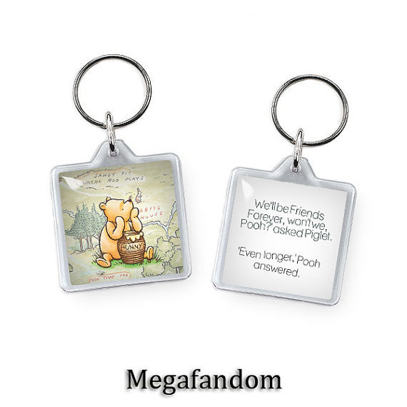 Winnie the Pooh Key Ring Forever Friends Keyring Double Sided Winnie Pooh  Keychain