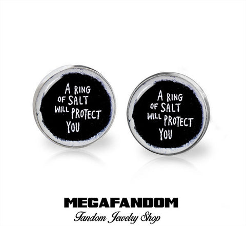 Ring of Salt will Protect you Supernatural Stud Earrings Supernatural Earrings Fandom Jewelry - Megafandom