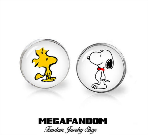 Snoopy and Woodstock Stud Earrings Snoopy Earrings Classic Characters Jewelry - Megafandom