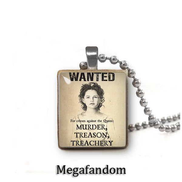 Snow White Wanted Poster Scrabble Tile Pendant With Ball Chain Once