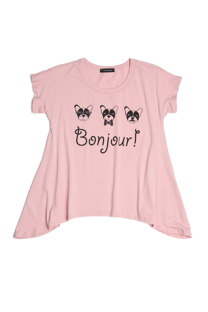 Girls Dog Bonjour Graphic Prints Handkerchief Hem Tee