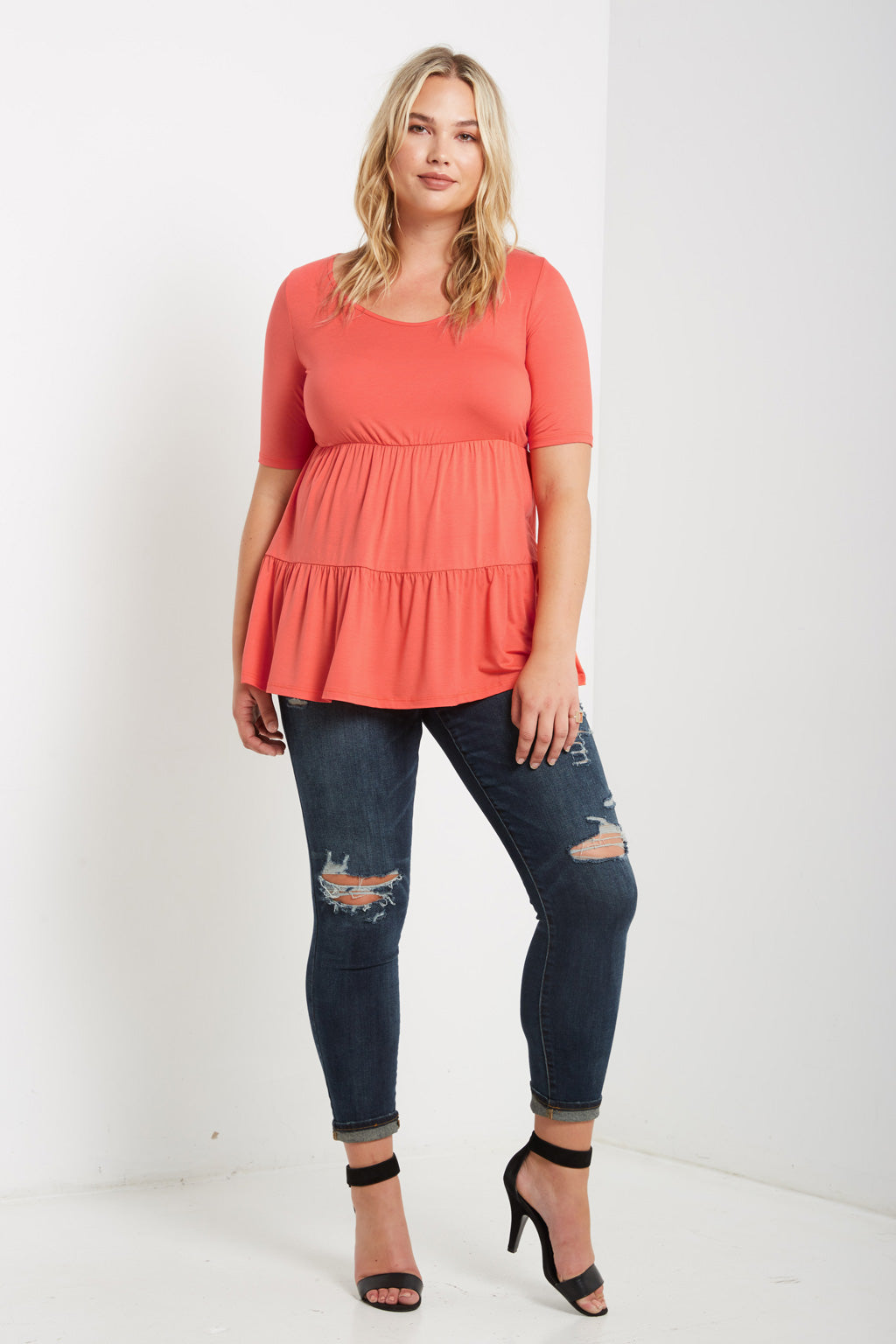 Short Sleeve Ruffled Tier Top Plus Size