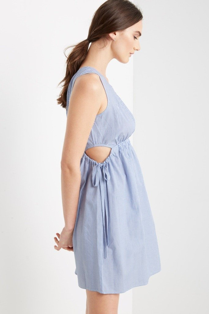 Poshsquare Dress S / Blue Ashter Striped Mini Dress