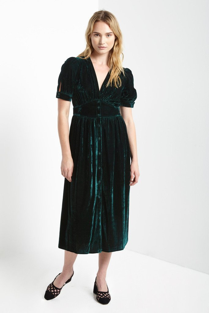 Poshsquare Dress Aud Crushed Velvet Midi Dress