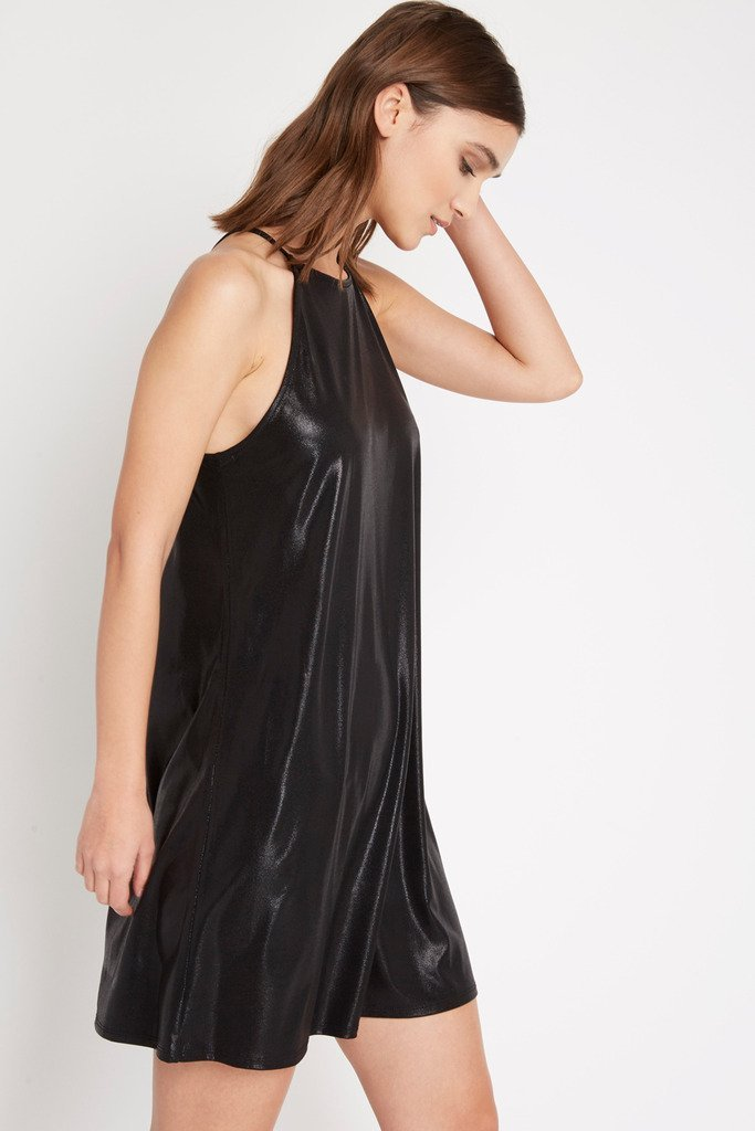Poshsquare Dress Black Storm Metallic Shift Dress