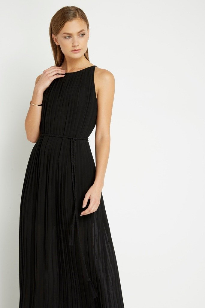Poshsquare Dress Black Tahari Pleated Maxi