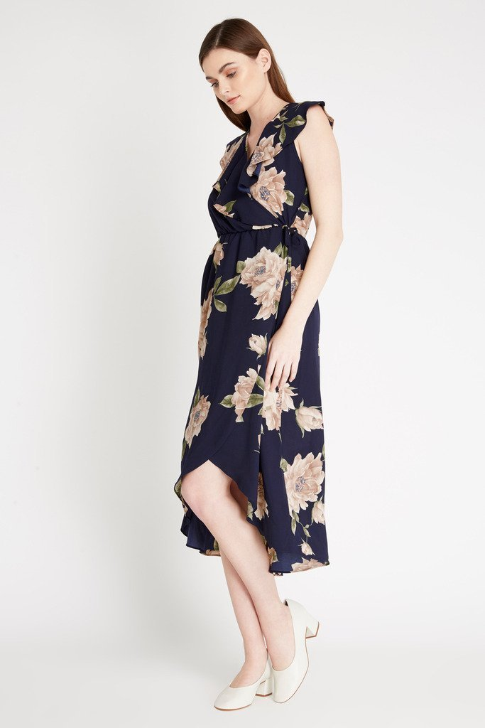 Poshsquare Dress Blaire Ruffled Floral Midi Dress