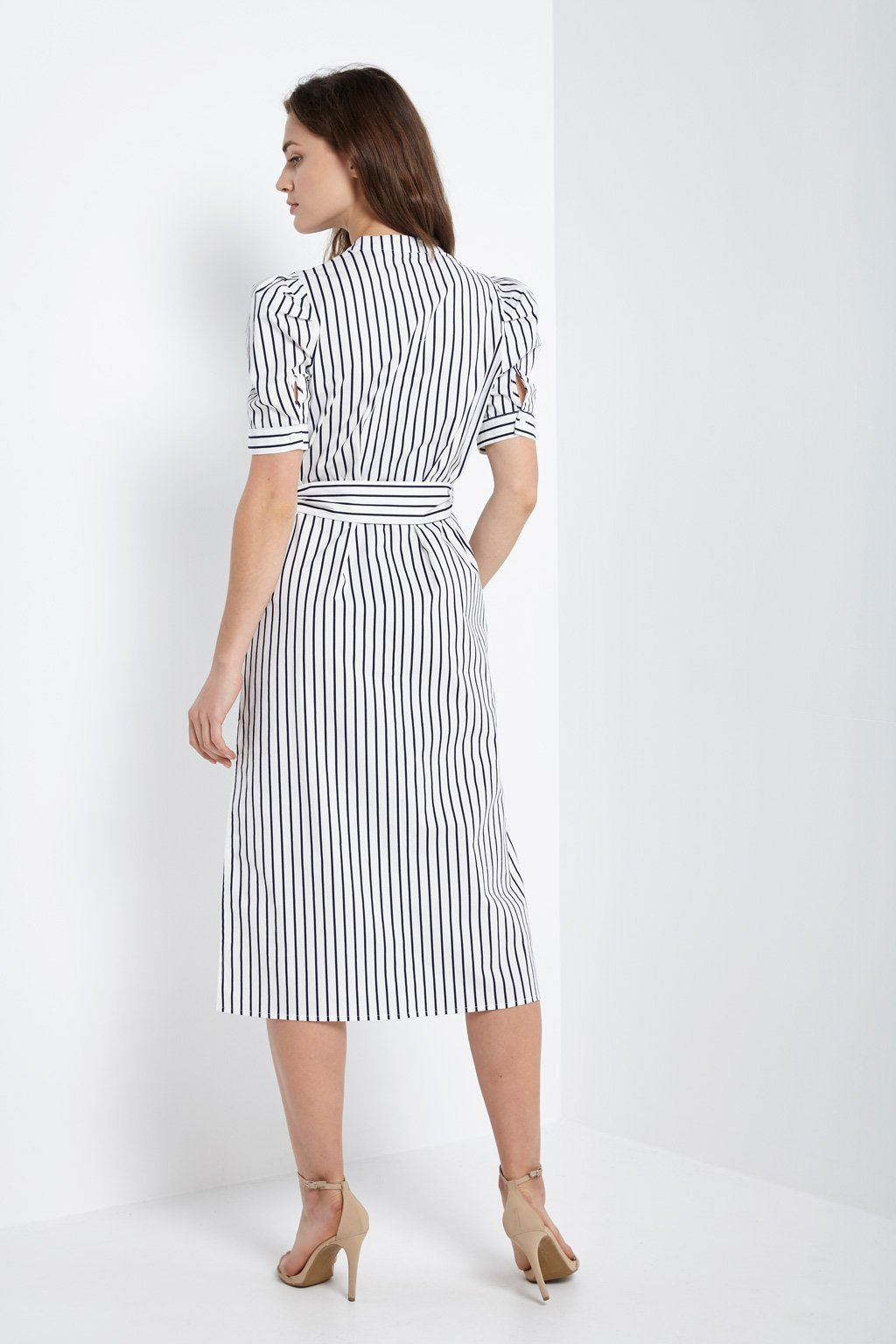 Poshsquare Dress Button Down Side Slit Dress