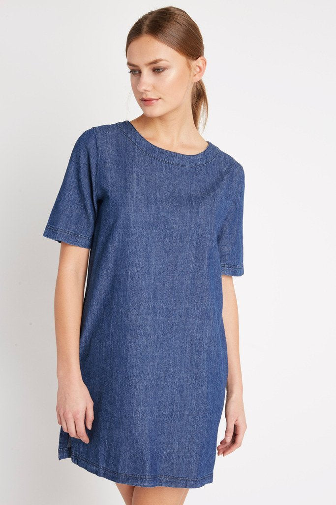 Poshsquare Dress Chambray Easy Choice Shift Dress