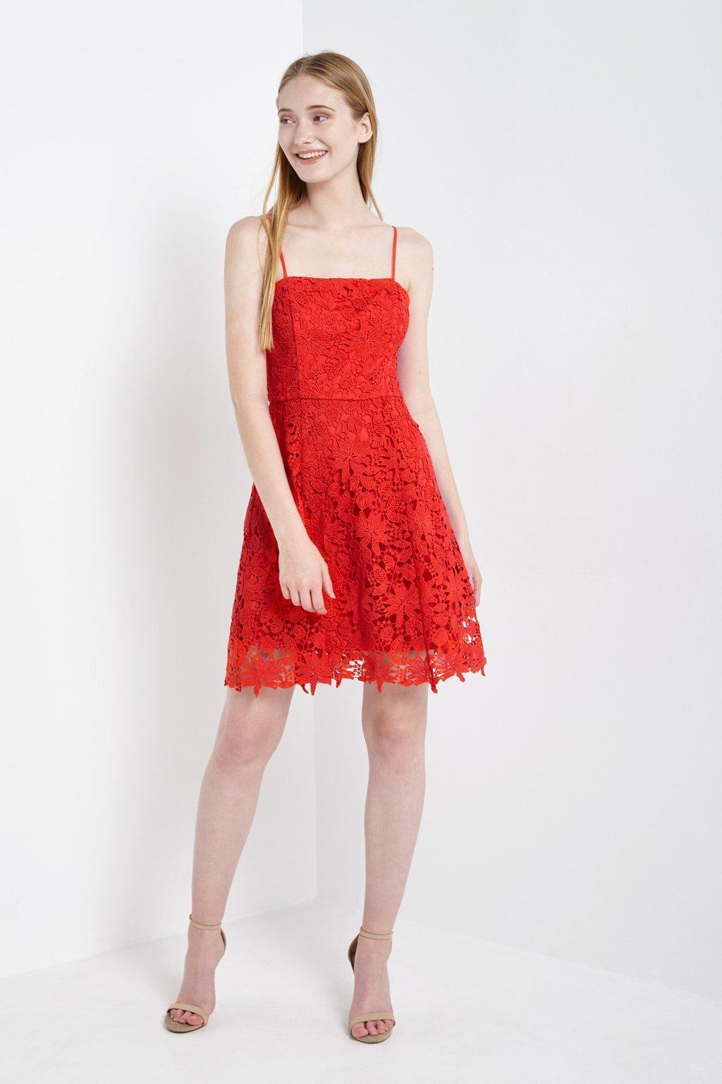 Poshsquare Dress Crochet Lace Spaghetti Strap Dress