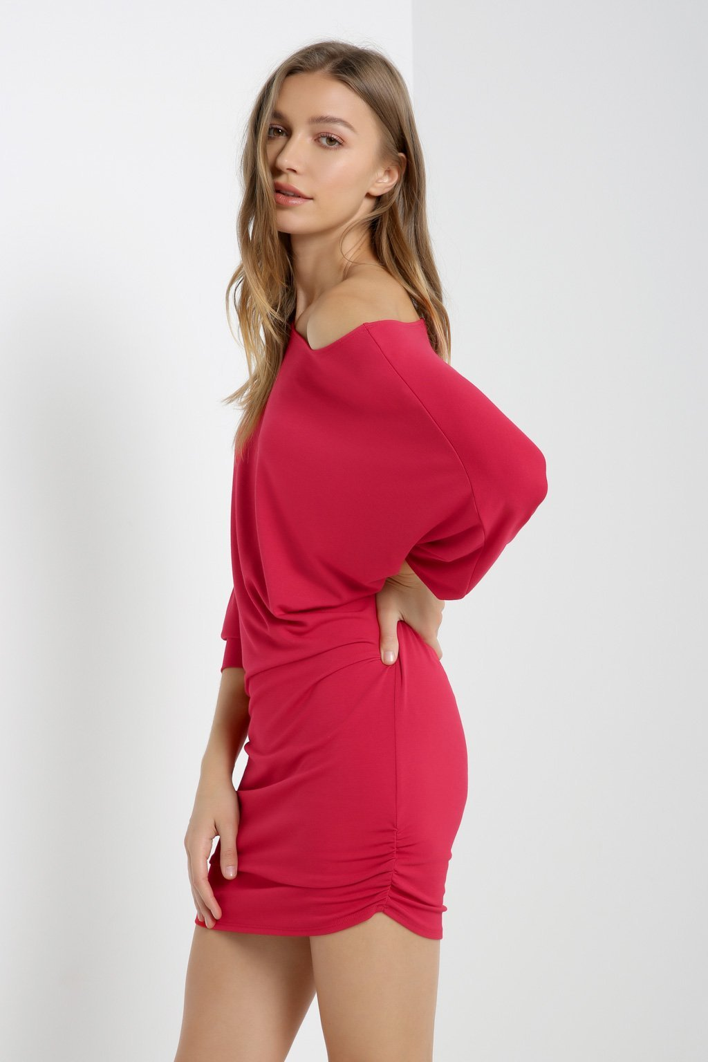 Poshsquare Dress S / Red Dolman Sleeve Ruched Dress