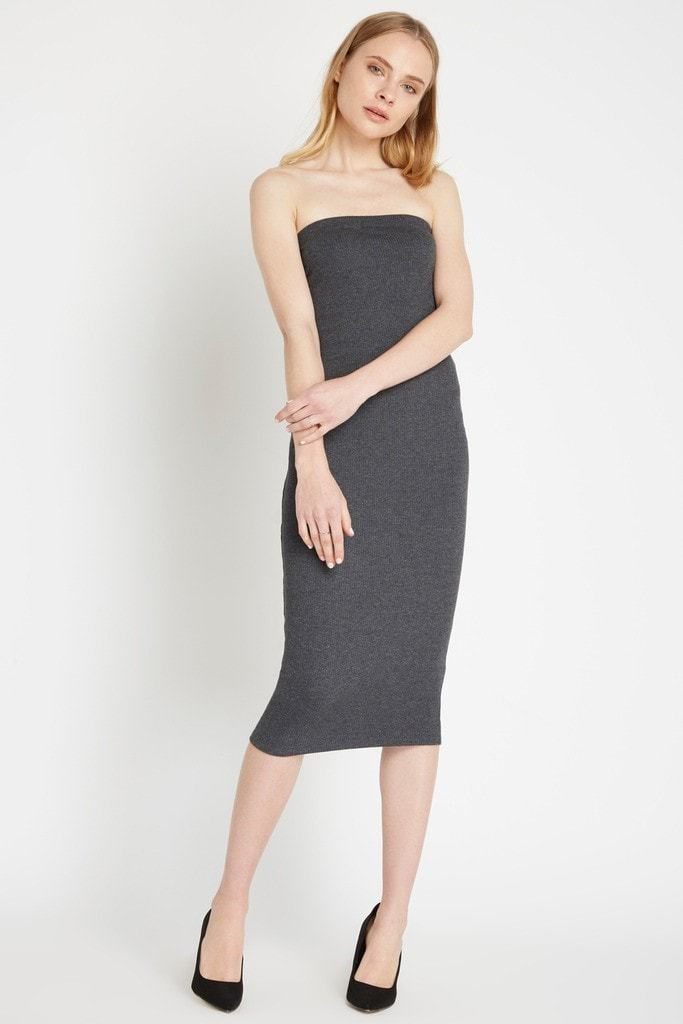 Poshsquare Dress Fit to Flatter Ribbed Midi Dress