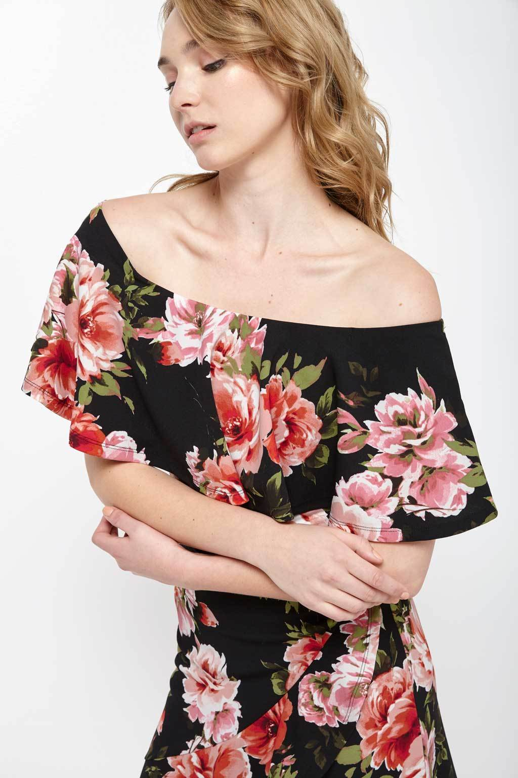 Poshsquare Dress Floral Off-The-Shoulder Ruffle Dress