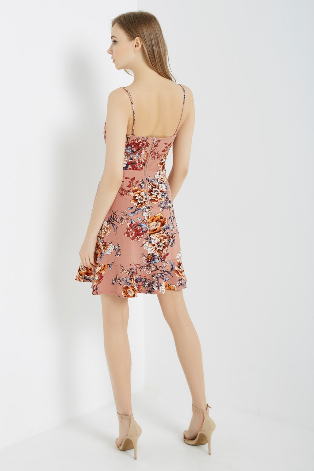 Poshsquare Dress Floral Ruffle-Hem Cami Dress