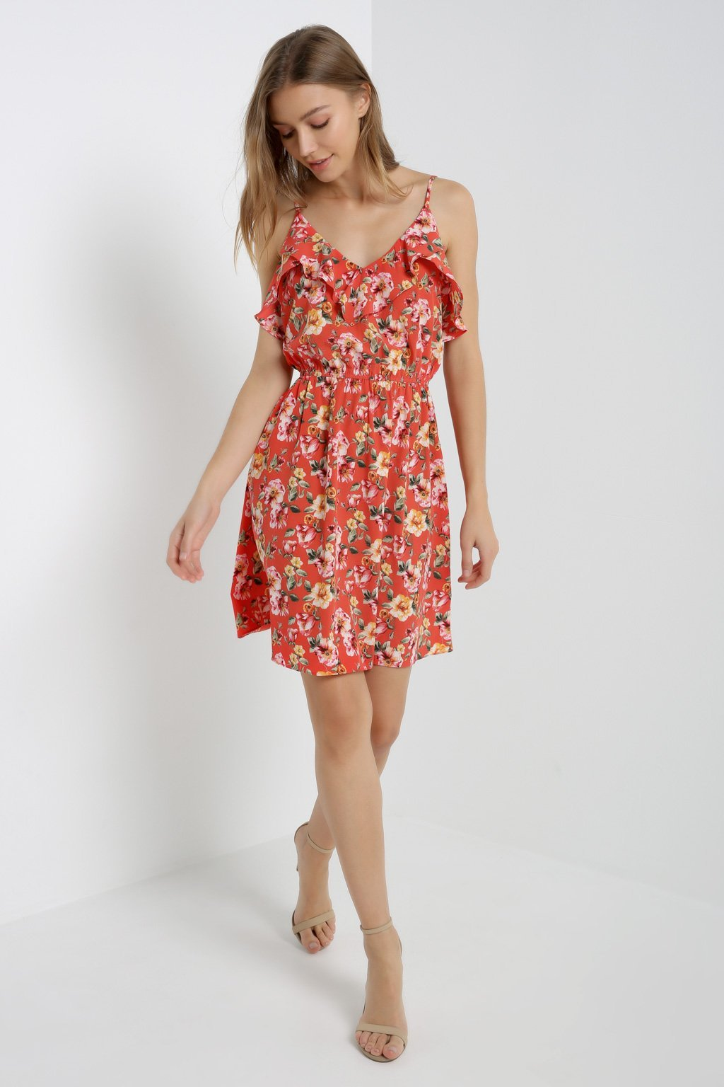 Poshsquare Dress Floral Ruffle Trim Dress
