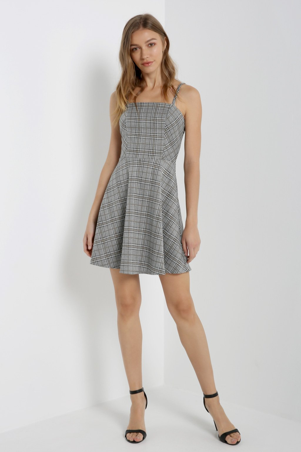 Poshsquare Dress Glen Plaid Fit and Flare Dress