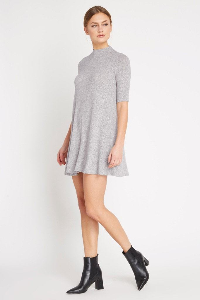Poshsquare Dress Grey Mod Sweater Swing Dress