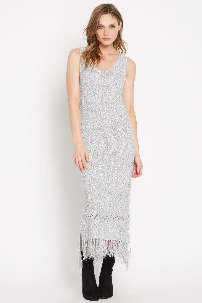 Poshsquare Dress Grey Peace Within Fringed Hem Sweater Maxi Dress