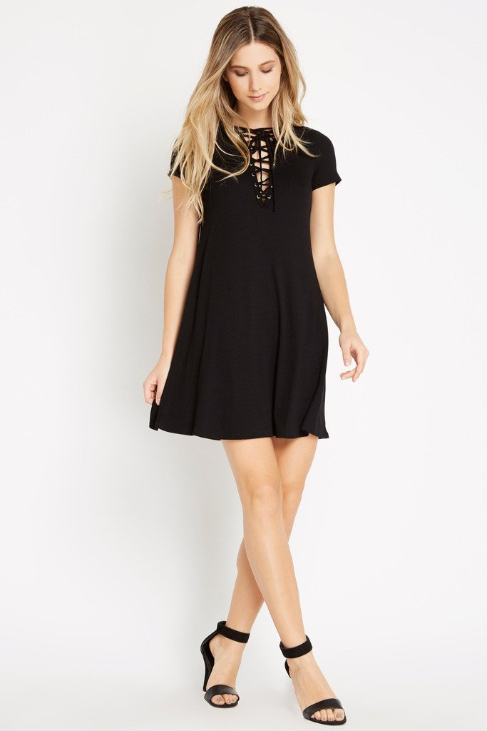 Poshsquare Dress L / Black Black Tied Together Lace Up Dress