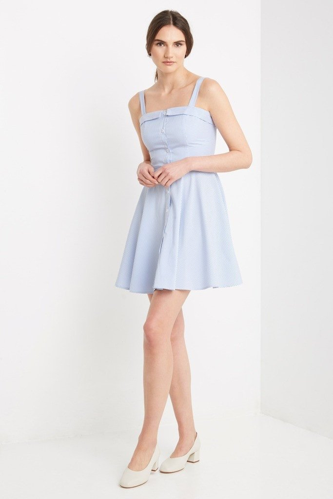 Poshsquare Dress L / Blue Melody Striped Fit and Flare Dress