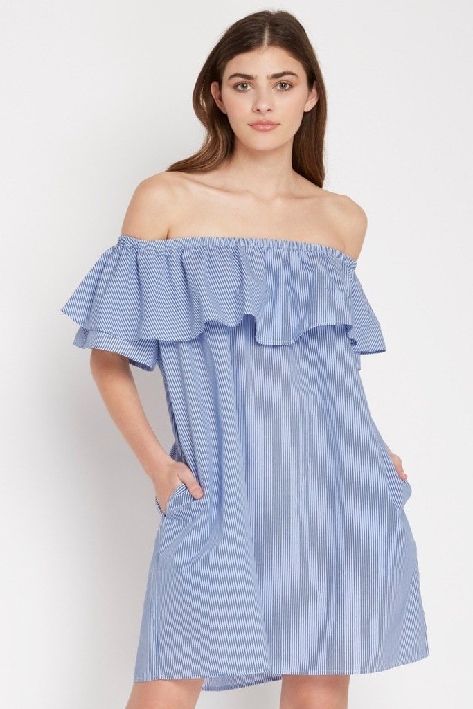 Poshsquare Dress Pinstripe Off the Shoulder Dress