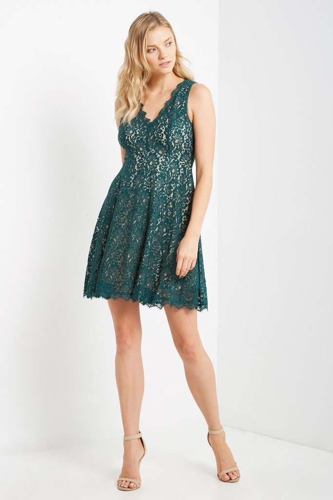 Poshsquare Dress Lace Fit and Flare Dress