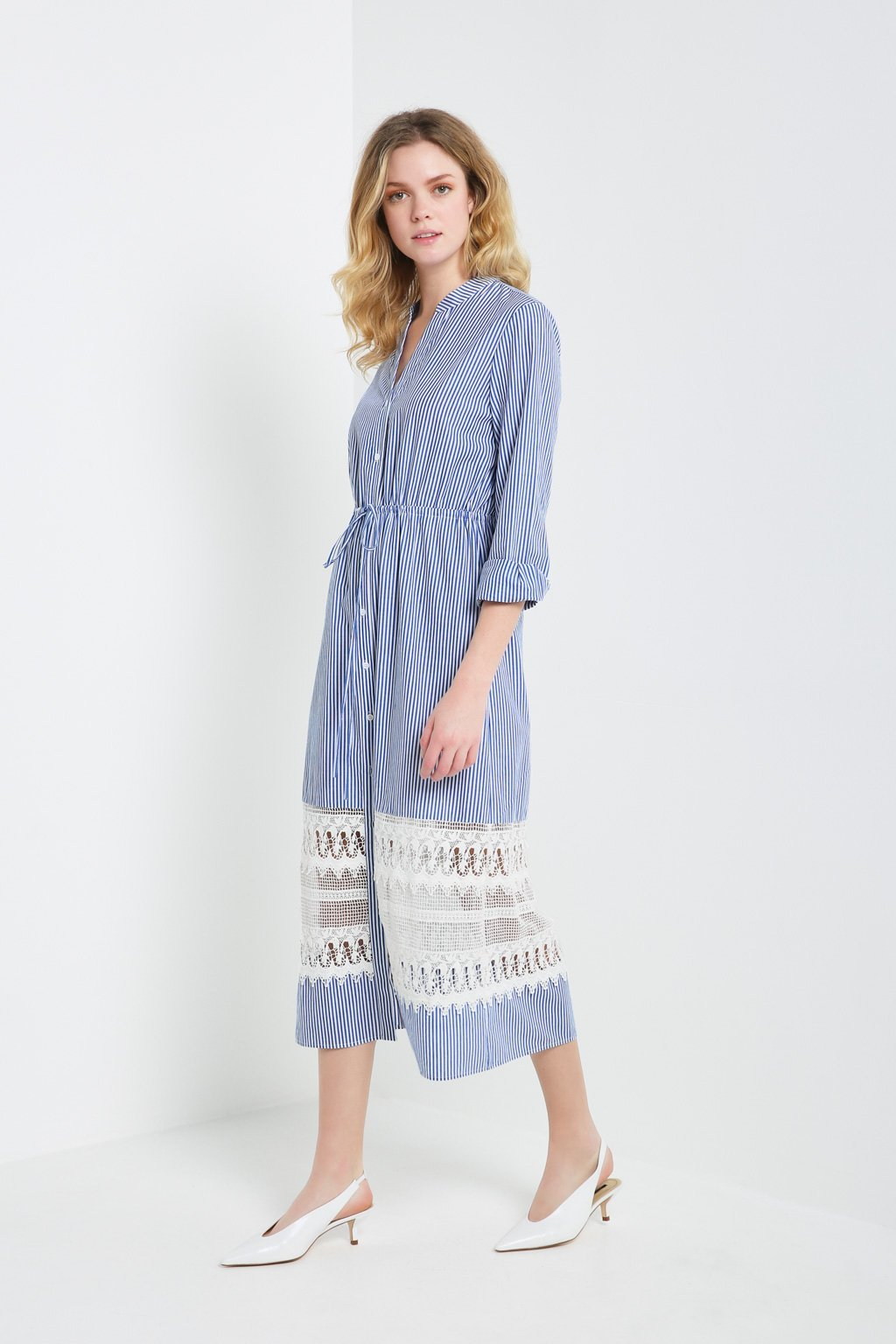Poshsquare Dress Lace Panel Shirt Dress