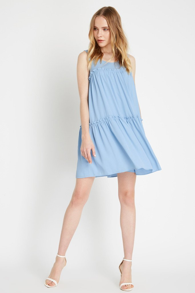 Poshsquare Dress M / Sky Sunday Ruffle Swing Dress