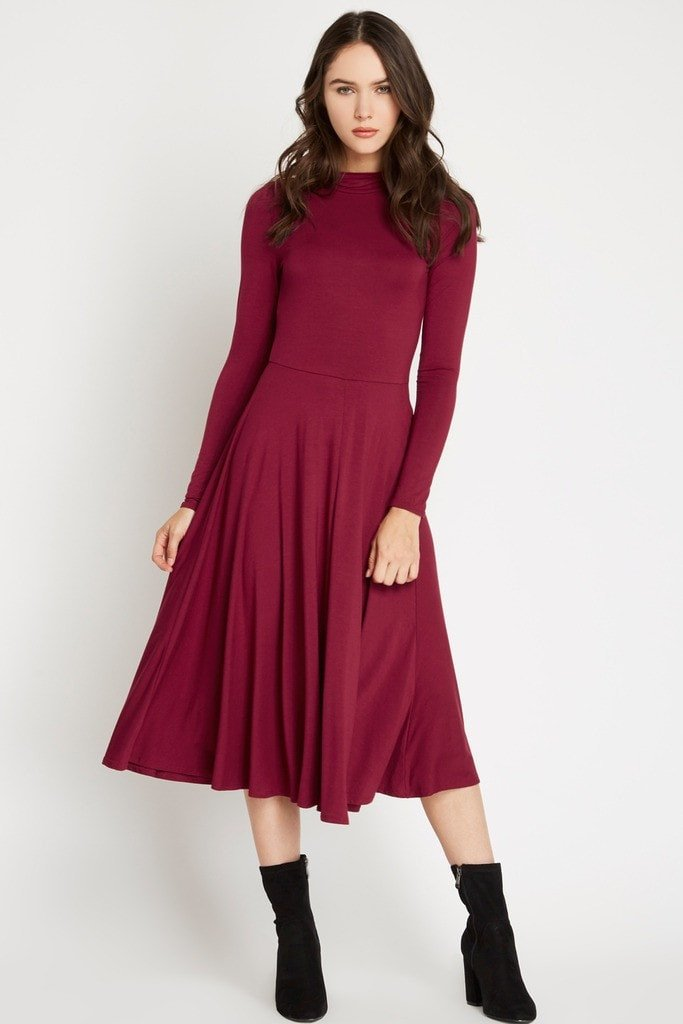 Poshsquare Dress M / Wine Ellie Mock Neck Midi Dress