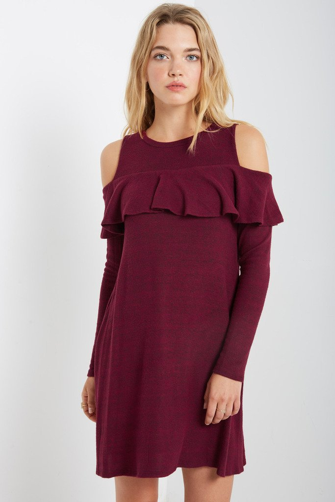 Poshsquare Dress May Cold Shoulder Sweater Swing Dress