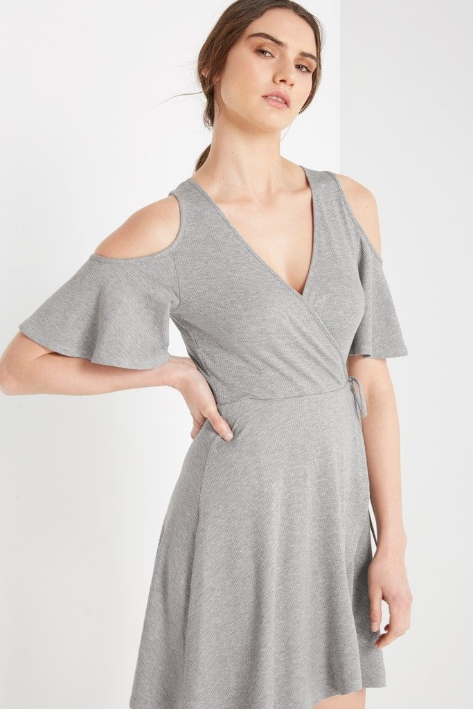 Poshsquare Dress Modesto Cold Shoulder Ribbed Swing Dress
