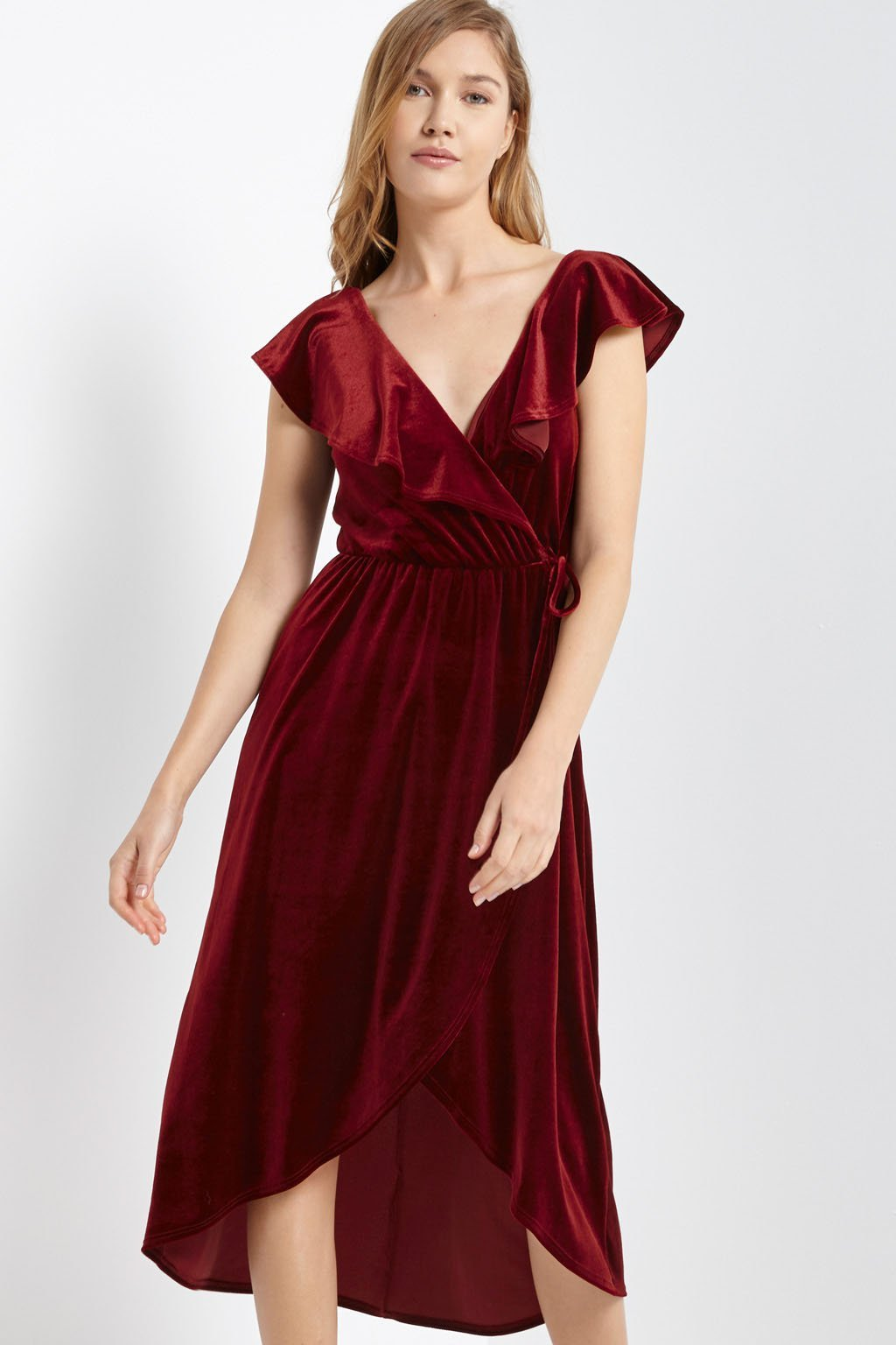 Poshsquare Dress Prim Velvet Ruffle Wrap Dress
