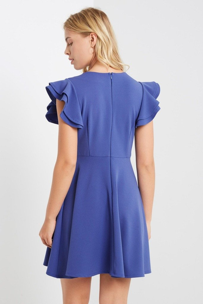 Poshsquare Dress Ruffle Sleeve Fit and Flare Dress