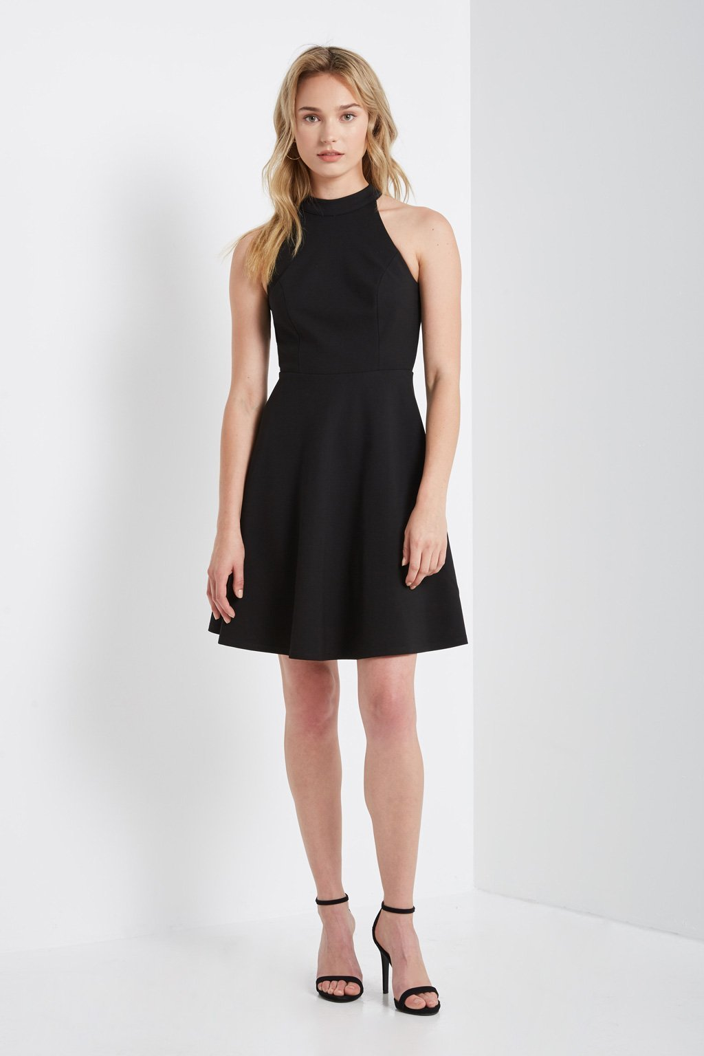 Poshsquare Dress Black Meek Halter Neck Fit and Flare Dress