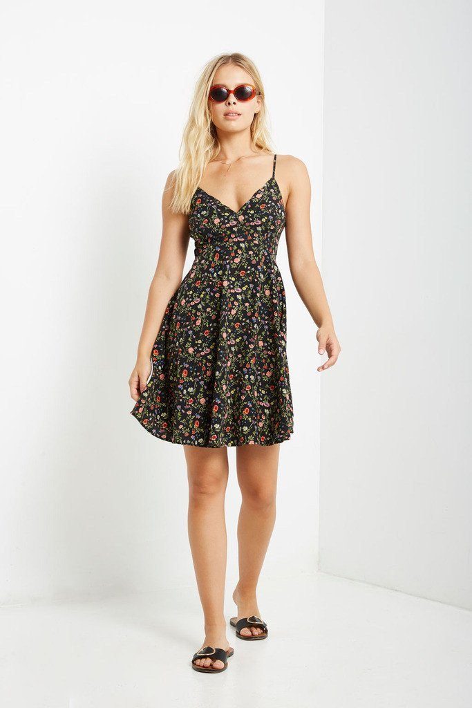 Poshsquare Dress S / Black Black Perry Floral Fit and Flare Dress