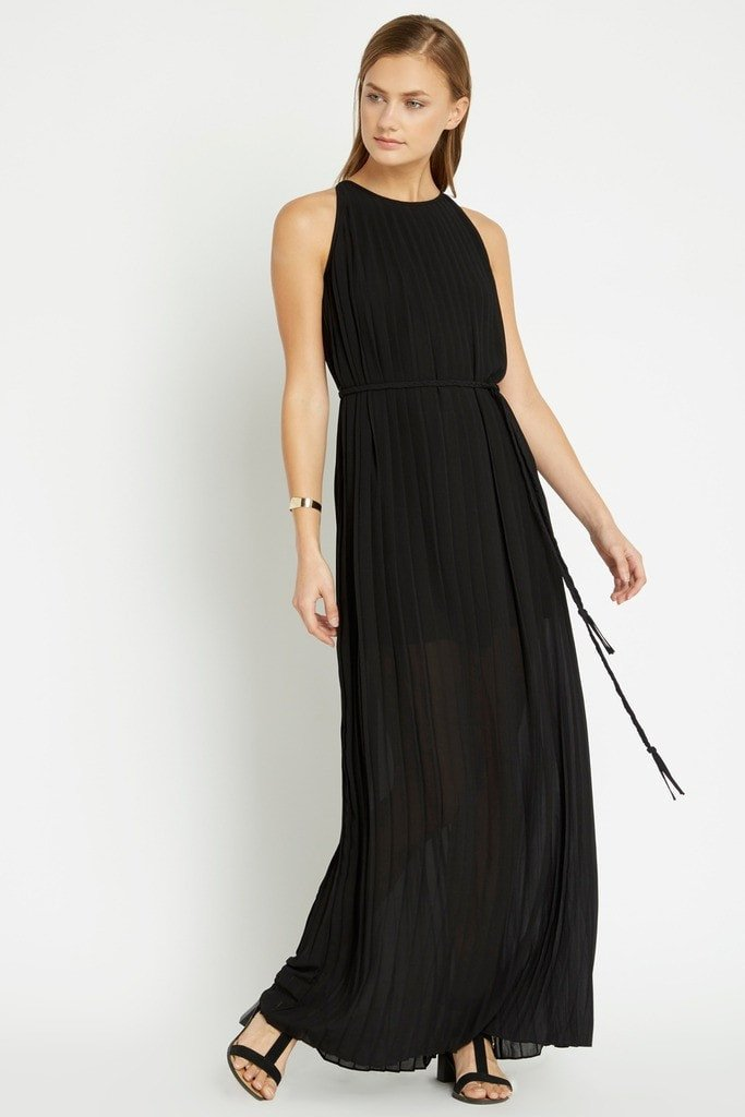 Poshsquare Dress S / Black Black Tahari Pleated Maxi