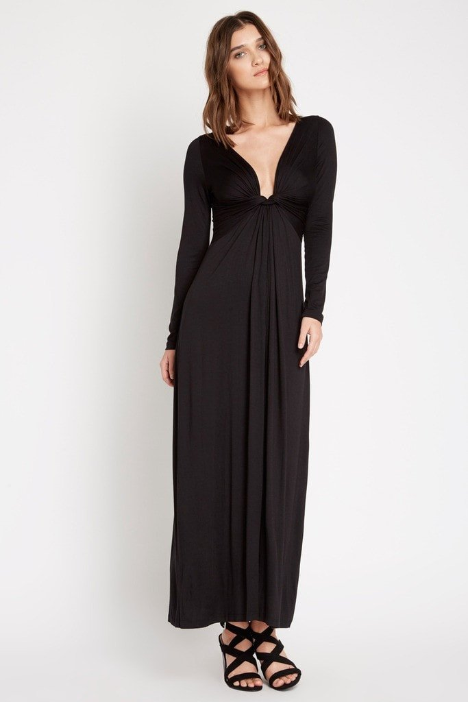 Poshsquare Dress S / Black Brett Twist Front Maxi Dress