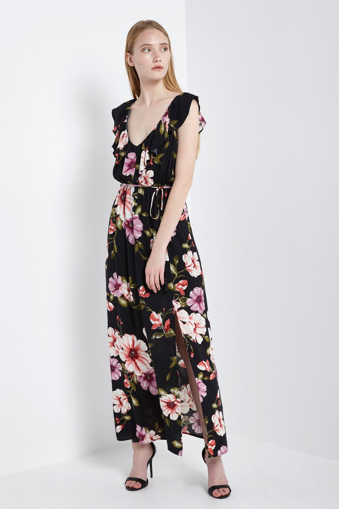 Poshsquare Dress S / Black Floral Ruffle Maxi Dress
